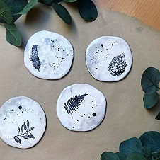 Woodland Stamped Coasters by The Poncy Pantry